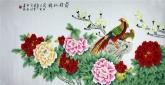 (已售)凌雪 四尺横幅 国画工笔画《前程似锦》牡丹锦鸡2-3