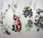 凌雪 国画花鸟四条屏《春夏秋冬》 2-6