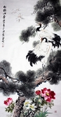 石云轩 国画花鸟画 四尺竖幅《松鹤同春》松鹤图201-2