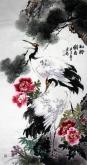 石云轩 国画花鸟画 四尺竖幅《松龄鹤寿》松鹤图201-1